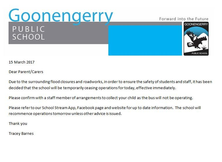 School Closing Today - Goonengerry Public School